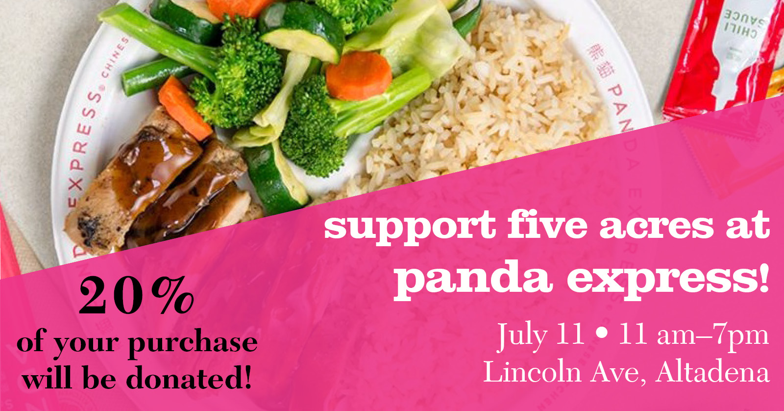 Panda express giveback with five acres