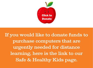 apple illustration with click to donate funds to purchase computers